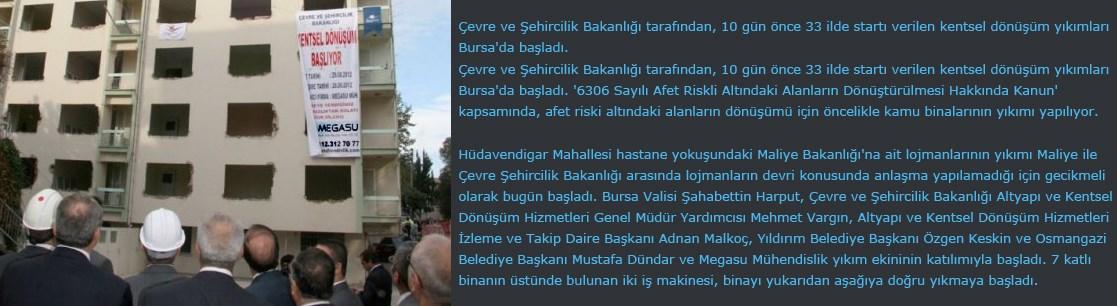 Bursa'da Kentsel Dönüşüm Megasu ile Başladı